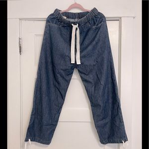Gucci Eco Washed Drawstrings Denim Track Pants In Dark Blue
